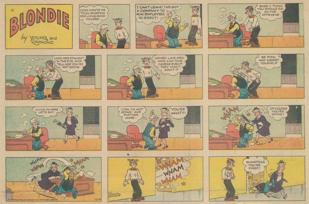 Blondie comic strip: Cora beats Julius over the head with her umbrella handle.